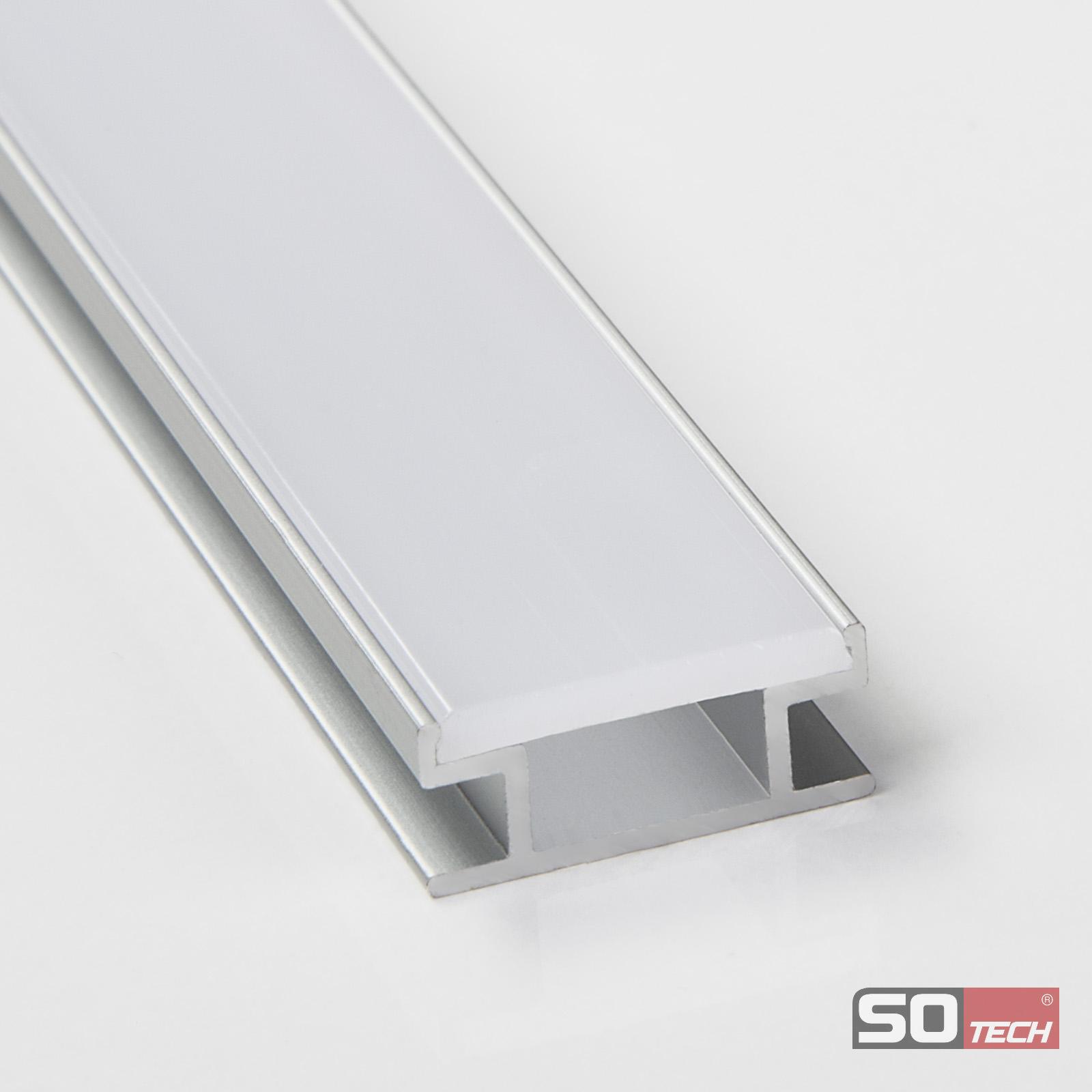 so tech alu aluminium led profil schiene f led stripe abdeckung opal o klar ebay. Black Bedroom Furniture Sets. Home Design Ideas