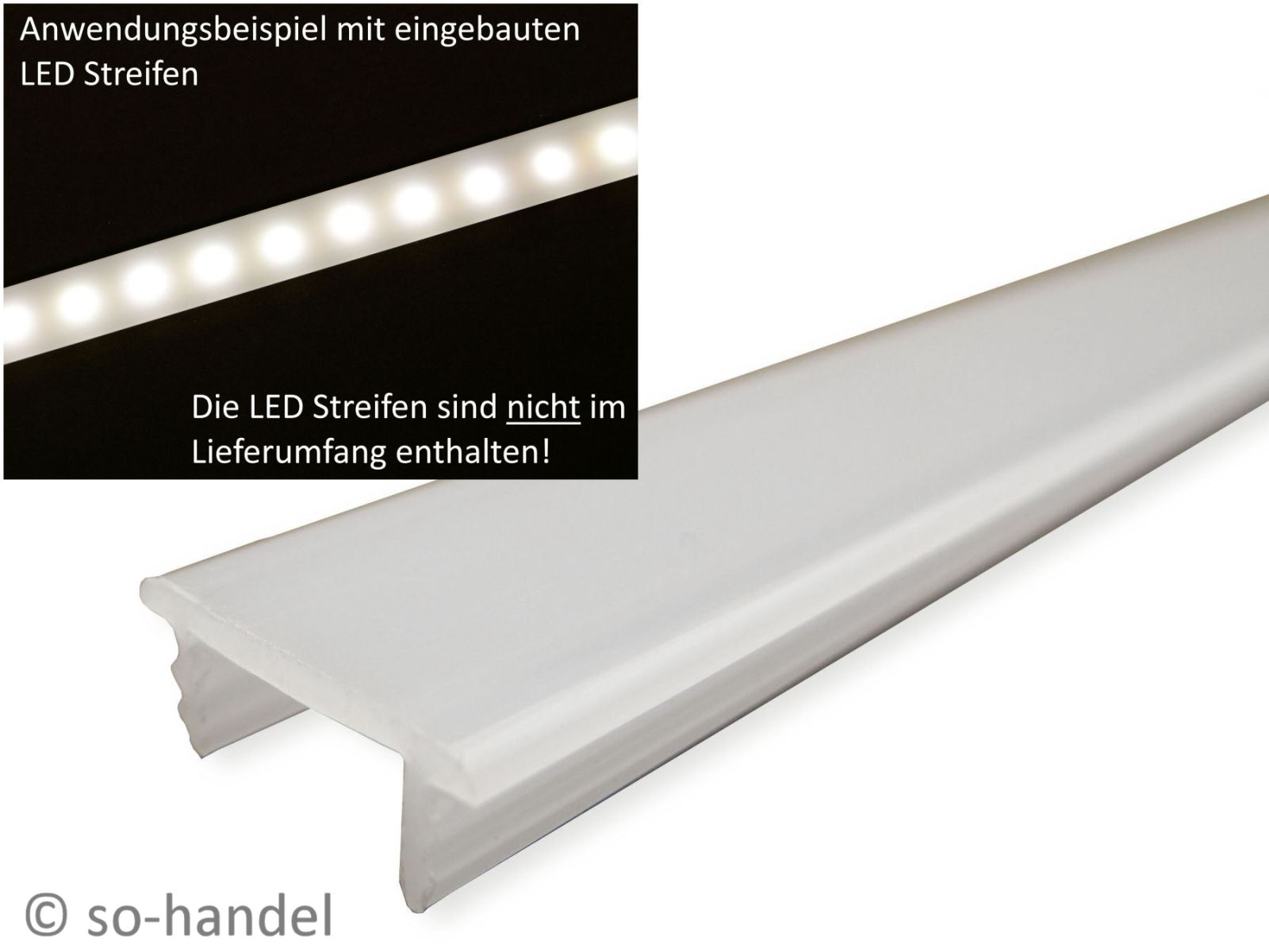 2m led profile f r stripes aluprofile aluminium schienen. Black Bedroom Furniture Sets. Home Design Ideas