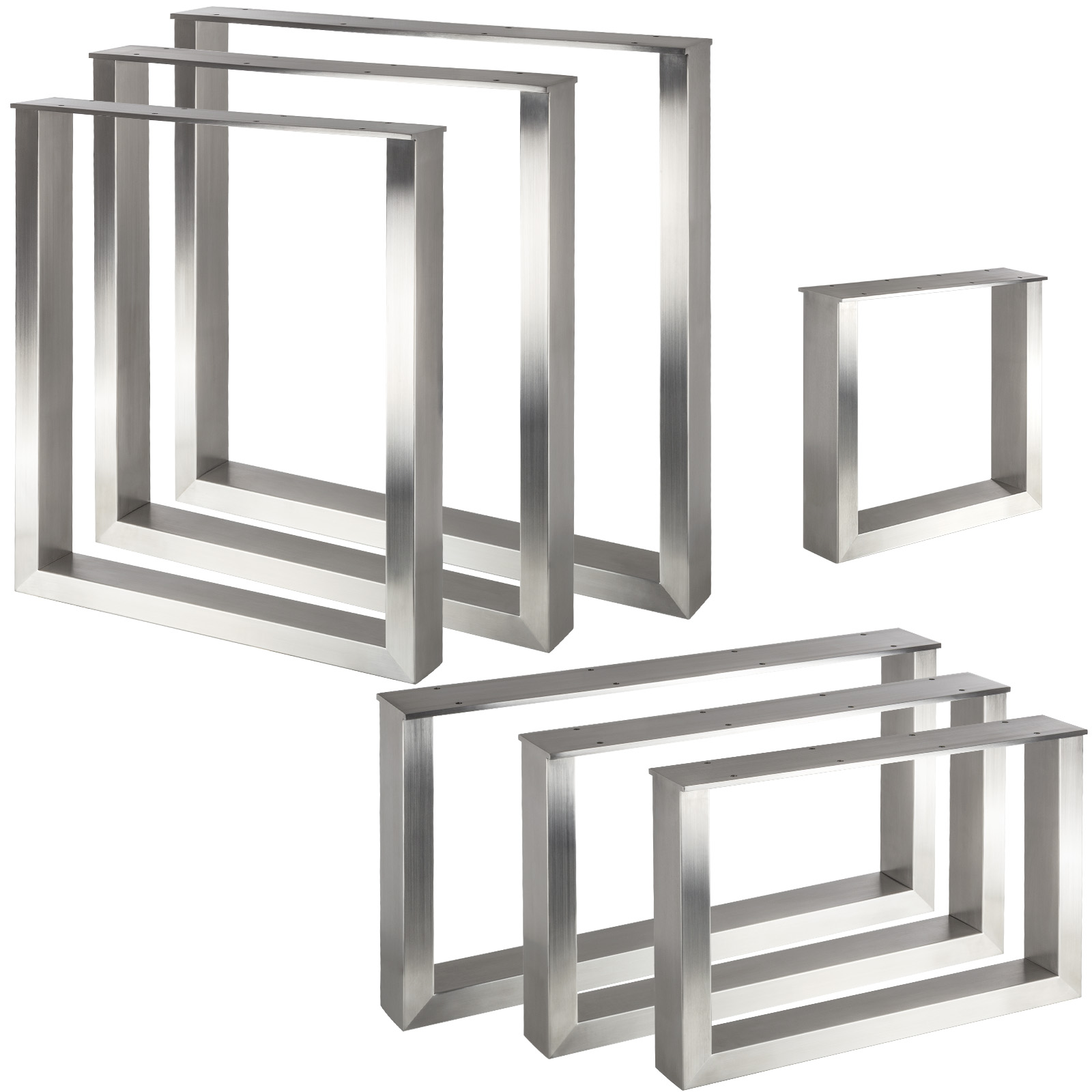 Möbelfuss Chrom matt Tischbein Höhe 710mm ø80mm Tischstempel Tischgestell Metall