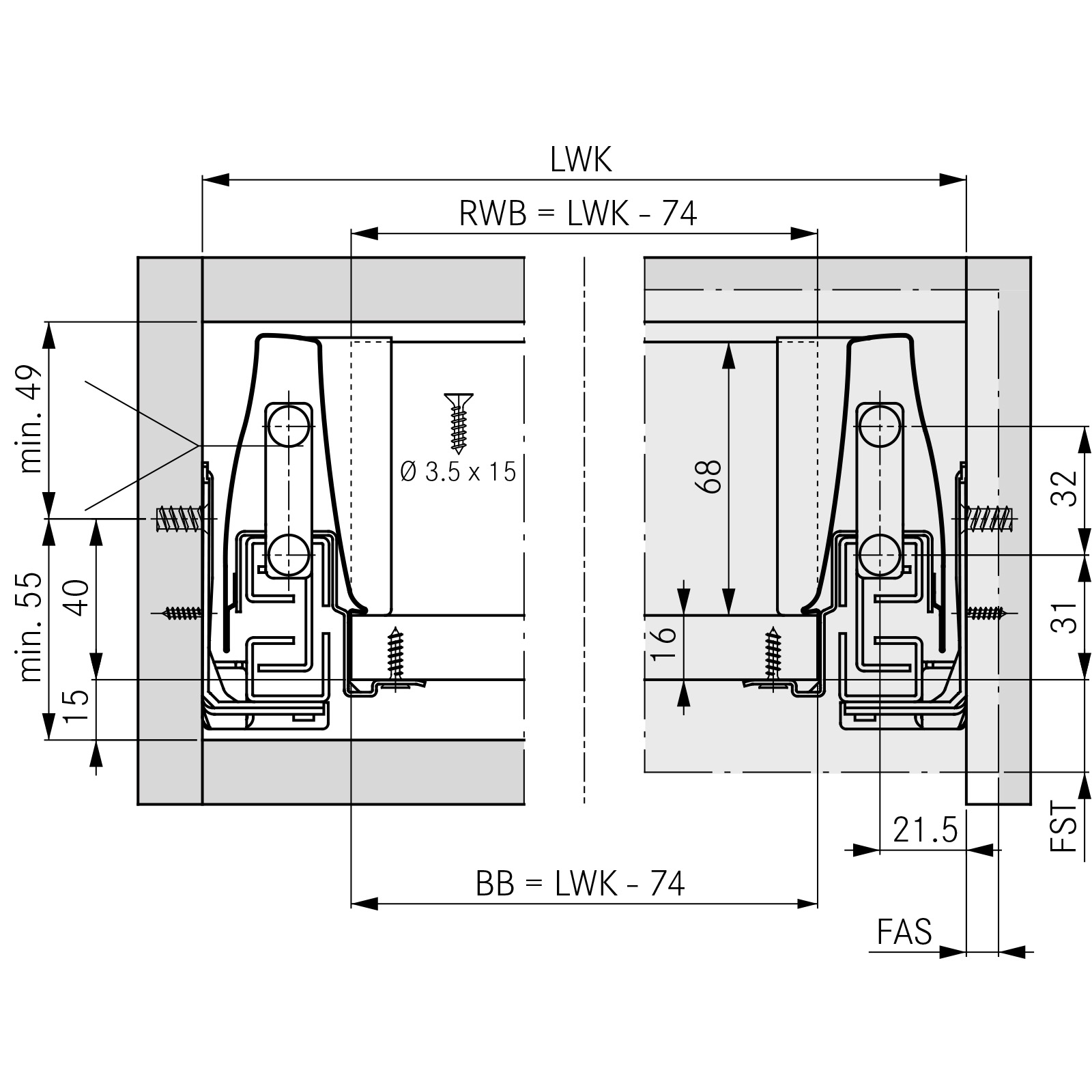 GRASS DWD-XP SCHUBLADENSYSTEM 40 kg grau mit SoftClose ...
