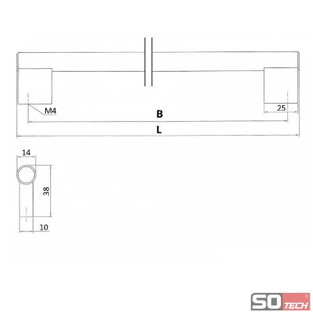 SO-TECH® Stangengriff Möbelgriff Relinggriff Edelstahloptik Ø 14 mm 192-1194 mm