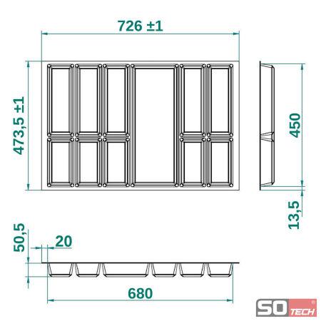 orga box iv universal besteckeinsatz f r 80 cm schubladenbreite besteckkasten ebay. Black Bedroom Furniture Sets. Home Design Ideas